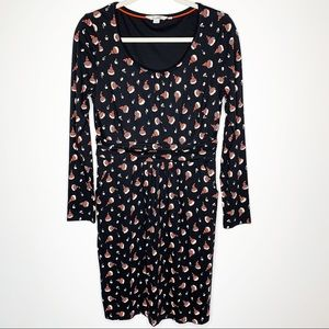 Boden Mabel Black Bud Floral Jersey Dress Size 8